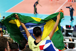 Fans of Brazil during friendly volleyball match between national teams of Slovenia and Brasil in Arena Stozice on 9. September 2015 in , Ljubljana, Slovenia. Photo by Matic Klansek Velej / Sportida