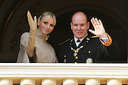 19.NOVEMBER.2011. MONACO<br /> <br /> PRINCE ALBERT II OF MONACO AND HIS WIFE PRINCESS CHARLENE ON THE PALACE BALCONY WAVING TO CROWDS FOR THE NATIONAL DAY OF MONACO, IN MONACO.<br /> <br /> BYLINE: EDBIMAGEARCHIVE.COM<br /> <br /> *THIS IMAGE IS STRICTLY FOR UK NEWSPAPERS AND MAGAZINES ONLY*<br /> *FOR WORLD WIDE SALES AND WEB USE PLEASE CONTACT EDBIMAGEARCHIVE - 0208 954 5968*