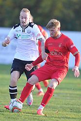 Joe Burgess Captain Ilkestone, beats Cambridge City Josh Dawkin, Cambridge City v Ilkestone FA Trophy 1st Qualifying Round, Westwood Road St Ives Ground, Saturday  31st October 2015 <br /> (Sore Cambridge 0- Ilkestone 1)