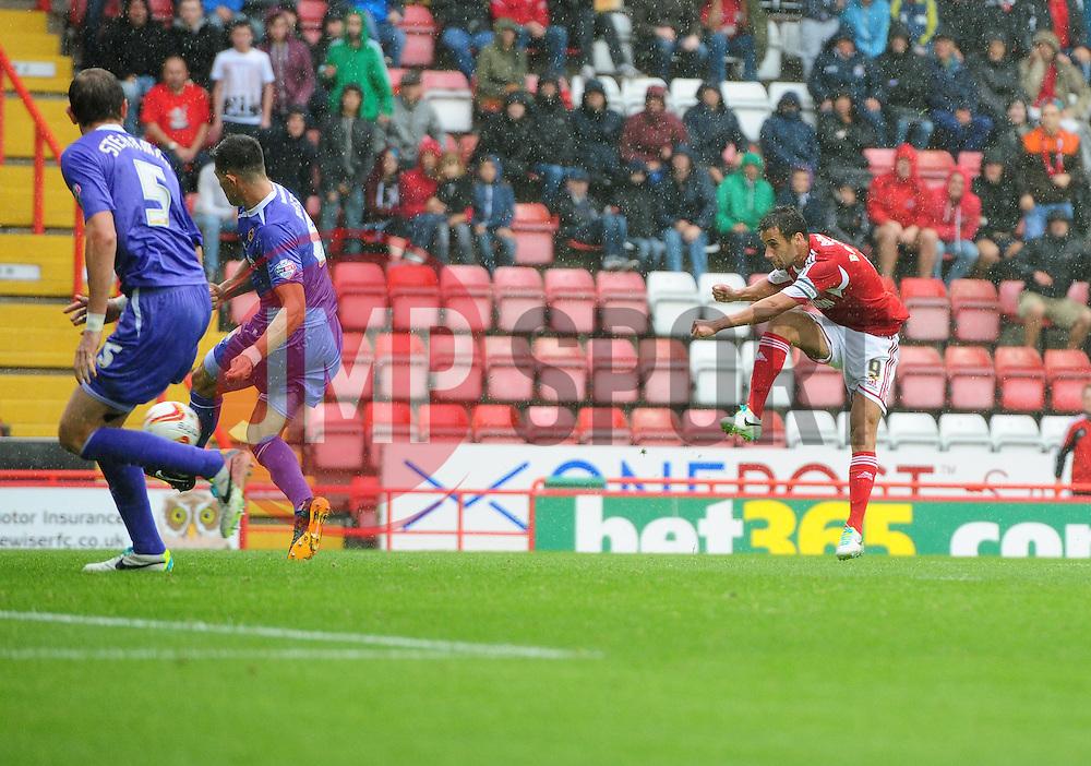 Bristol City's Sam Baldock sees his shot blocked  - Photo mandatory by-line: Joe Meredith/JMP - Tel: Mobile: 07966 386802 17/08/2013 - SPORT - FOOTBALL - Ashton Gate - Bristol -  Bristol City V Wolves - Sky Bet League One