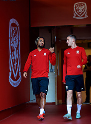 CARDIFF, WALES - Wednesday, October 10, 2018: Wales' captain Ashley Williams and Andy King during a training session at the Principality Stadium ahead of the International Friendly match between Wales and Spain. (Pic by David Rawcliffe/Propaganda)