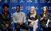 Feb 10, 2017; New York, NY; Tianna Bartoletta (USA), Omar McLeod (JAM), Sandi Morris (USA) and Katerina Stefandi (GRE) during a press conference prior to the 110th Millrose Games at the NYRR RunCenter.