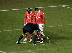 Bristol City's Luke Freeman and Bristol City's James Tavernier watch as the ref puts a line down of disappearing foam.  - Photo mandatory by-line: Alex James/JMP - Mobile: 07966 386802 - 29/01/2015 - SPORT - Football - Bristol - Ashton Gate - Bristol City v Gillingham - Johnstone Paint Trophy Southern area final
