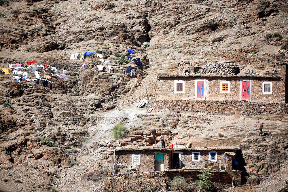 Houses of a Berber village in the High Atlas Mountains.