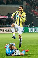 ROTTERDAM - Sparta Rotterdam - Vitesse , Voetbal , Halve Finale KNVB Beker , Seizoen 2016/2017 , Sparta stadion het Kasteel , 01-03-2017 ,  eindstand 1-2 , Vitesse speler Lewis Baker maakt bijna zijn 3e maar springt over Sparta keeper Roy Kortsmit heen