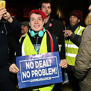Anti-Brexit counters Pro-Brexit at People's vote to Stop Brexit rally due to Brexit vote in Parliament on 15 January 2019, London, UK