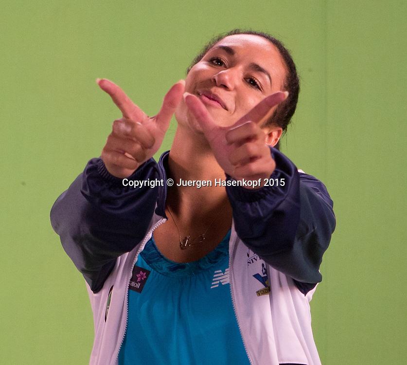 Heather Watson (GBR) macht ein Promotion Video im TV Studio,Portrait,<br /> <br /> Tennis - Champions Tennis League 2015 -  -   - Chennai - Tamil Nadu - India  - 25 November 2015. <br /> &copy; Juergen Hasenkopf