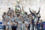 Foto Daniele Badolato / LaPresse<br /> 18 05 2014 Torino (Italia)<br /> Sport Calcio<br /> Juventus - Cagliari<br /> Campionato italiano di calcio Serie A Tim 2013 2014 - Cerimonia di premiazione<br /> Nella foto: la premiazione<br /> <br /> Photo Daniele Badolato / LaPresse<br /> 18 05 2014 Turin (Italy)<br /> Sport Soccer<br /> Juventus - Cagliari<br /> Italian Football Championship League A Tim 2013 2014 - Victory Ceremony<br /> In the picture: victory ceremony