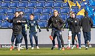 FODBOLD: FC Helsingør's spillere varmer op før kampen i ALKA Superligaen mellem Brøndby IF og FC Helsingør den 25. februar 2018 på Brøndby Stadion. Foto: Claus Birch.