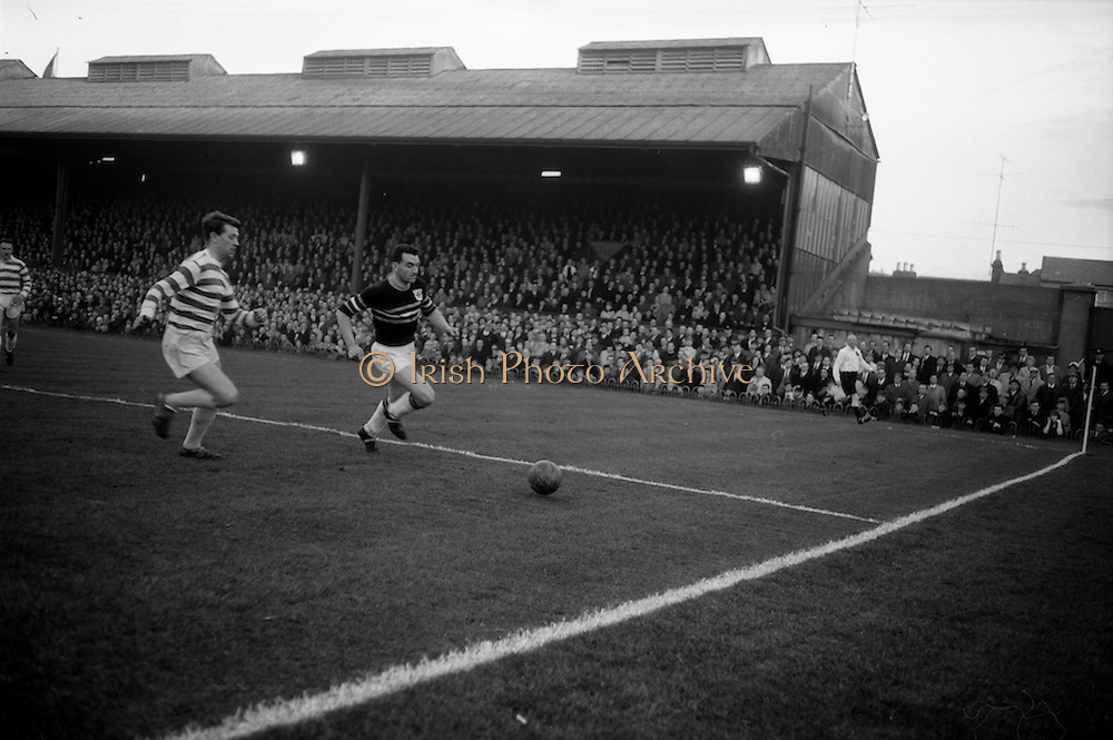 29/04/1964<br /> 04/29/1964<br /> 29 April 1964 <br /> F.A.I. Cup Final replay- Shamrock Rovers v Cork Celtic at Dalymount Park, Dublin. Rovers won the game 2-1. Leahy (Celtic) beats the Rovers centre half near the goal line.