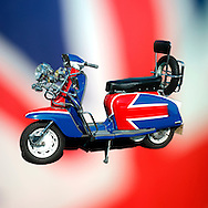 Lambretta Scooter on a Union Jack Flag.