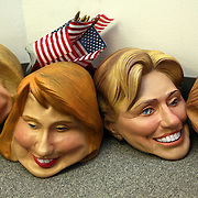 Hillary Clinton masks lay on the floor of a downtown Des Moines office, days after the Iowa caucuses, where the New York senator finished a distant second to Barrack Obama.  The masks were used for various political events and parties held during the caucus season.  Clinton rebounded 5 days later by winning the New Hampshire primary.