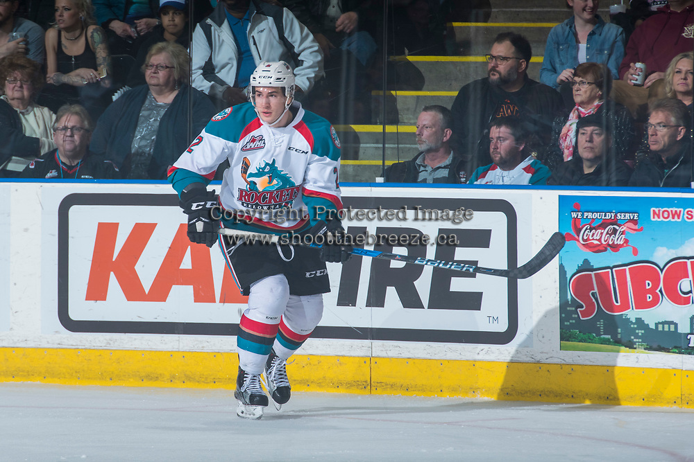 KELOWNA, CANADA - MARCH 25: James Hilsendager #2 of the Kelowna Rockets skates against the Kamloops Blazers on March 25, 2017 at Prospera Place in Kelowna, British Columbia, Canada.  (Photo by Marissa Baecker/Shoot the Breeze)  *** Local Caption ***