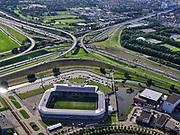 Nederland, Zuid-Holland, Den Haag, 14-09-2019; Prins Clausplein, verkeersknooppunt tussen A4 en A12. Naar (rechts)boven de Utrechtsebaan richting centrum Den Haag. Stadion ADO Den Haag, Cars Jeans Stadion, in de voorgrond.--<br /> Prins Clausplein, traffic junction between A4 and A12.<br /> luchtfoto (toeslag op standard tarieven);<br /> aerial photo (additional fee required);<br /> copyright foto/photo Siebe Swart