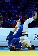Warsaw, Poland - 2017 April 20: Georgii Zantaraia from Ukraine (white) competes with Matej Poliak from Slovakia (blue) in the men&rsquo;s 66kg semifinal during European Judo Championships 2017 at Torwar Hall on April 20, 2017 in Warsaw, Poland.<br /> <br /> Mandatory credit:<br /> Photo by &copy; Adam Nurkiewicz / Mediasport<br /> <br /> Adam Nurkiewicz declares that he has no rights to the image of people at the photographs of his authorship.<br /> <br /> Picture also available in RAW (NEF) or TIFF format on special request.<br /> <br /> Any editorial, commercial or promotional use requires written permission from the author of image.