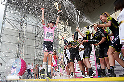 Annemiek van Vleuten (NED) celebrates with her Mitchelton Scott teammates after Stage 10 of 2019 Giro Rosa Iccrea, a 120 km road race from San Vito al Tagliamento to Udine, Italy on July 14, 2019. Photo by Sean Robinson/velofocus.com