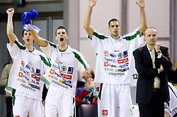 Pawel Kikowski, Sani Becirovic, Aleksandrov and Jure Zdovc of Olimpija celebrate  at basketball match of NLB League between KK Union Olimpija and KK Crvena zvezda,  on October 24, 2009, Arena Tivoli, Ljubljana, Slovenia.  Union Olimpija won 94:76.  (Photo by Vid Ponikvar / Sportida)