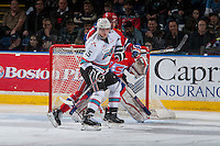 KELOWNA, CANADA - FEBRUARY 27: Tomas Soustal #15 of Kelowna Rockets looks for the pass in front of the net against the Spokane Chiefs on February 27, 2016 at Prospera Place in Kelowna, British Columbia, Canada.  (Photo by Marissa Baecker/Shoot the Breeze)  *** Local Caption *** Tomas Soustal;