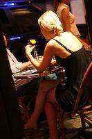 Beautiful blond in bar in Paris