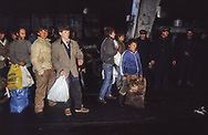 Albania . Durres.  23/02/1991 return of the refugees expeled from italy; In the port of Durres. under. army control
