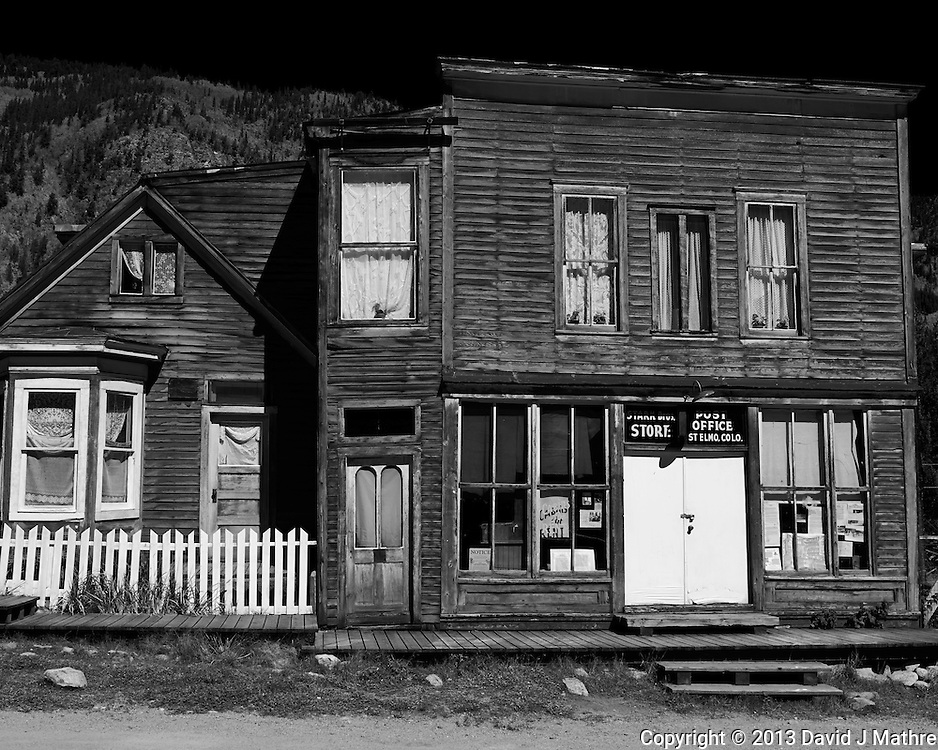 Post Office St. Elmo Ghost Town in Colorado. Image taken with a Leica X2 camera (ISO 100, 24 mm, f/11, 1/500 sec). Colorado Photo Safari with Jason Odell. Note the face looking out the upper left window.