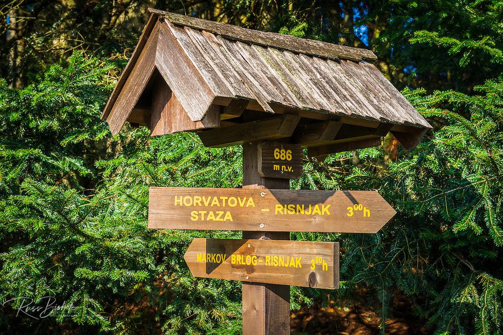 Trail sign, Risnjak National Park, Croatia