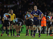 Tom Denton of Leinster looks dejected as him team lose during the European Rugby Champions Cup match at Twickenham Stoop , London<br /> Picture by Paul Terry/Focus Images Ltd +44 7545 642257<br /> 07/12/2014