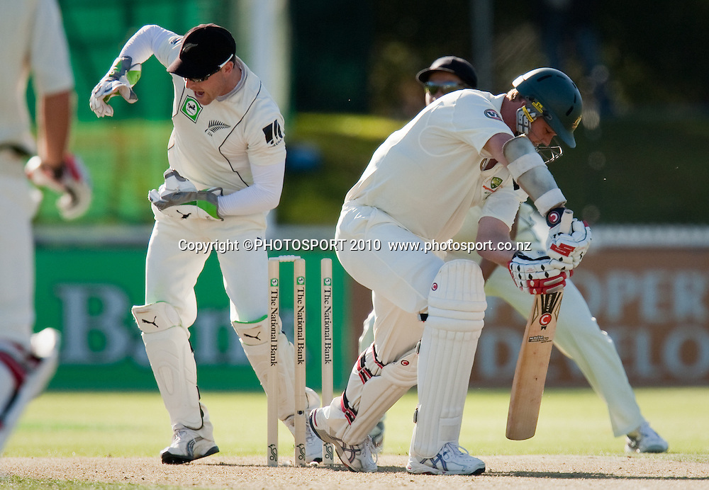 Doug Bollinger is bowled by Daniel Vettori during day one of the 2nd cricket test match between NZ Black Caps and Australia, at Seddon Park, Hamilton, 27 March 2010. Photo: Stephen Barker/PHOTOSPORT