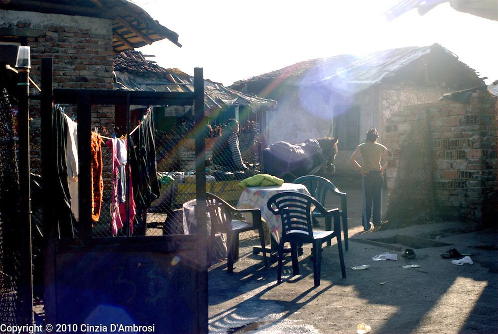 Roma in the Roma ghetto of Kjustendil in Bulgaria.