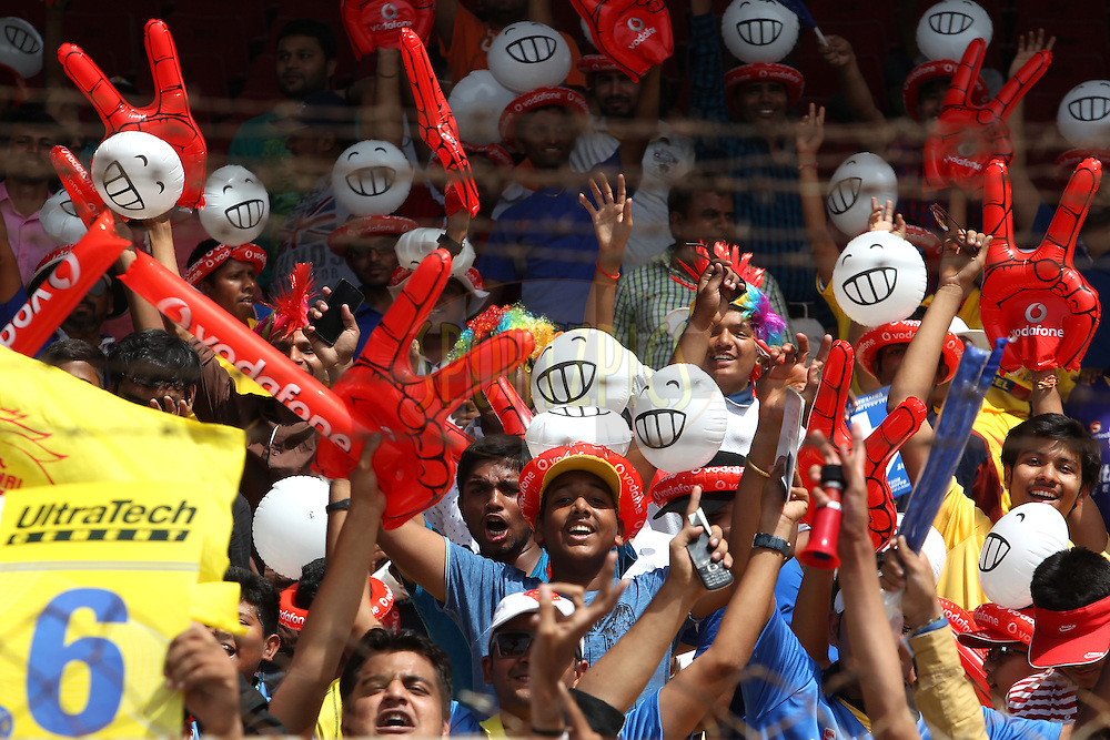 Fans during match 15 of the Pepsi IPL 2015 (Indian Premier League) between The Rajasthan Royals and The Chennai Superkings held at the Sardar Patel Stadium in Ahmedabad , India on the 19th April 2015.<br /> <br /> Photo by:  Deepak Malik / SPORTZPICS / IPL