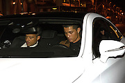 EXCLUSIVE-MADRID, SPAIN, 2015, Jan 26 <br /> <br /> The Real Madrid player, Cristiano Ronaldo enjoyed a dinner in a popular restaurant in Madrid capital in the company of his friend and agent, Jorge Mendes. The player left the restaurant with a smile despite the poor performance of the team Real Madrid in the last round<br /> ©Exclusivepix Media