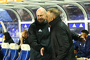 Sheffield Wednesday Manager Carlos Carvalhal and Birmingham Caretaker Manager Lee Carsley during the EFL Sky Bet Championship match between Birmingham City and Sheffield Wednesday at St Andrews, Birmingham, England on 27 September 2017. Photo by John Potts.