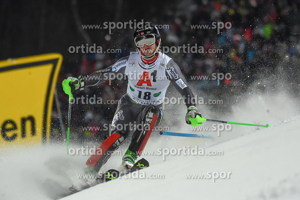 "29.01.2019, Planai, Schladming, AUT, FIS Weltcup Ski Alpin, Slalom, Herren, 1. Lauf, im Bild Sebastian Foss-Solevaag (NOR) // Sebastian Foss-Solevaag of Norway in action during his 1st run of men's Slalom ""the Nightrace"" of FIS ski alpine world cup at the Planai in Schladming, Austria on 2019/01/29. EXPA Pictures © 2019, PhotoCredit: EXPA/ Erich Spiess"