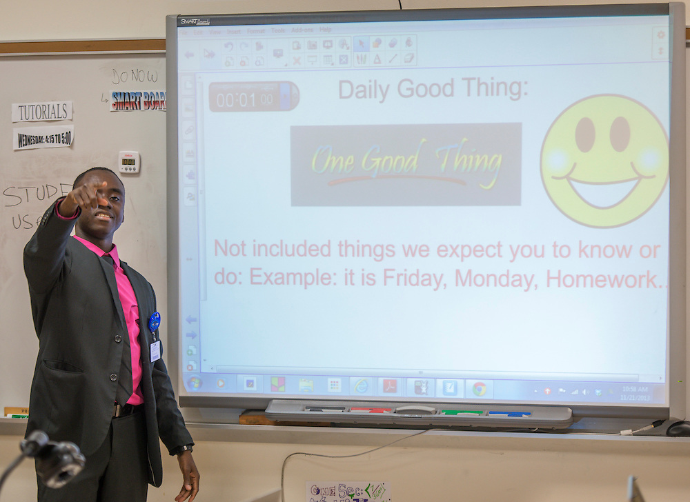 "Math teacher Dahirou Ndiaye asks students to share ""One Good Thing"" at the start of an AP Statistics class at Lee High School, November 21, 2013."