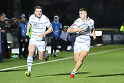 Cardiff Blues winger Owen Lane (14) looks to take the ball from his team mateduring the Heineken Champions Cup match between Glasgow Warriors and Cardiff Blues at Scotstoun Stadium, Glasgow, Scotland on 13 January 2019.