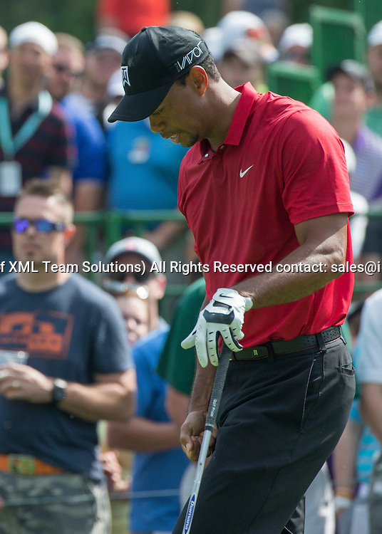 June 07 2015: Tiger Woods punches his leg after teeing off on the 15th hole during the final round of the Memorial Tournament held at the Muirfield Village Golf Club in Dublin, Ohio.