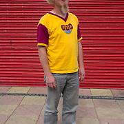 Half Man Half Biscuit fan wearing Dukla Prague away shirt, Wincobank Avenue Sheffield.