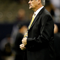 November 6, 2011; New Orleans, LA, USA; New Orleans Saints general manager Mickey Loomis prior to kickoff of a game against the Tampa Bay Buccaneers at the Mercedes-Benz Superdome. Mandatory Credit: Derick E. Hingle-US PRESSWIRE
