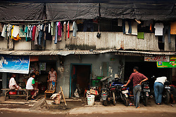 People live crowded together in a poorer area of Jakarta, but they make it work as best as they can, Jakarta, Indonesia.