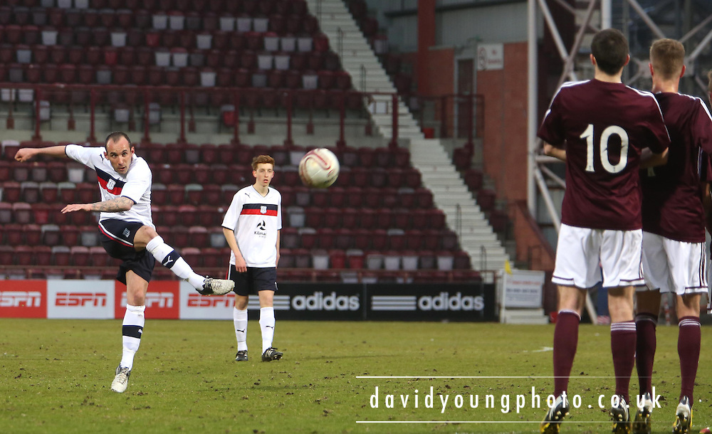 Mark Stewart  fires in a free kick - Hearts v Dundee - Scottish Premier League Under 20s.. - © David Young - www.davidyoungphoto.co.uk - email: davidyoungphoto@gmail.com