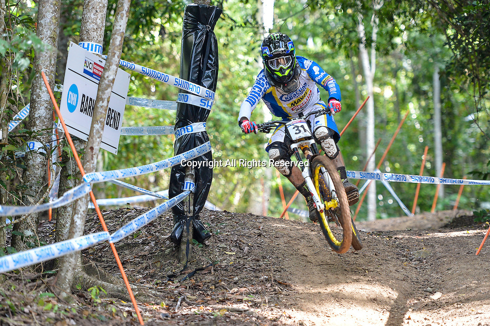 22.04.2016. Cairns,Australia. UCI Mountain Bike World Cup. Downhill qualifying. Sam Hill from Australia riding for CHAIN REACTION CYCLES / PAYPAL during practice.