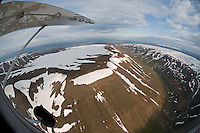 Aerial view of mountainous terrain between Akureryi and Husavik, northern Iceland