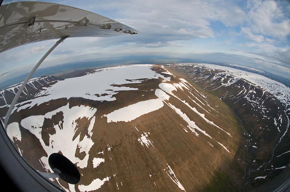 Aerial view of mountainous terrain between Akureryi and Husavik, northern Iceland