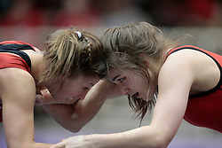 London, Ontario ---2013-03-02---  Josee Tremblay of  the University of Calgary takes on Jade Parsons of  Brock in the women's 48kg gold medal match at the 2013 CIS Wrestling Championships in London, Ontario, March 02, 2013. .GEOFF ROBINS/Mundo Sport Images