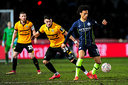 Regan Poole of Newport County challenges Leroy Sane of Manchester City - Mandatory by-line: Ryan Hiscott/JMP - 16/02/2019 - FOOTBALL - Rodney Parade - Newport, Wales - Newport County v Manchester City - Emirates FA Cup fifth round proper