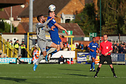 AFC Wimbledon midfielder Anthony Hartigan (8) winning header during the EFL Sky Bet League 1 match between AFC Wimbledon and Portsmouth at the Cherry Red Records Stadium, Kingston, England on 19 October 2019.