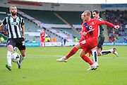 York City's Lewis Alessandra has a shot during the Sky Bet League 2 match between Plymouth Argyle and York City at Home Park, Plymouth, England on 28 March 2016. Photo by Graham Hunt.