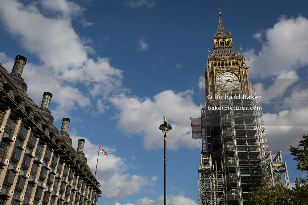 The Elizabeth Tower that holds the now silent Big Ben bell is covered in scaffolding, on 5th October, 2017, in London, England. The bell will remain silent during this renovation until 2021 and the estimated cost of repairing the tower that houses Big Ben has doubled to £61m, authorities have said.