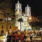 Families gather in the main square of Valladolid at night, in front of the Cathedral of San Gervasio (Catedral De San Gervasio).