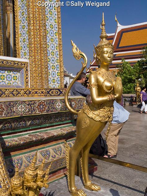 gold leaf statue outside ornate pavilion; half monkey, half woman, female, Wat Phra Kaew; Grand Palace; Bangkok; Thaiiland